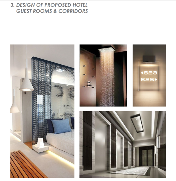 Some ideas of the guest rooms (right) and the corridor areas of the guest room levels.