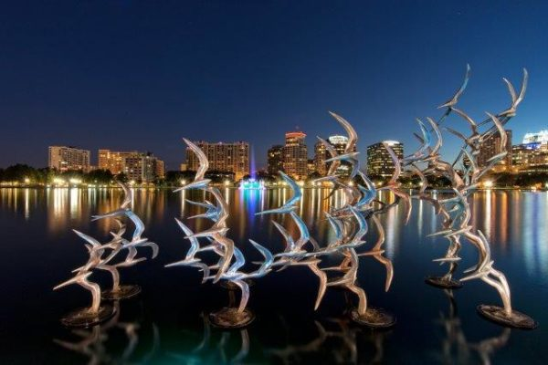 Lake Eola Park Sculpture at Night
