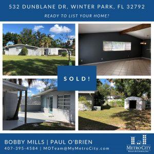 Just Sold 3 Bedroom House in Winter Park FL