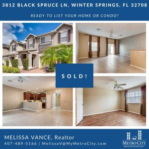 Just Sold 3 Bedroom Townhouse in Winter Springs