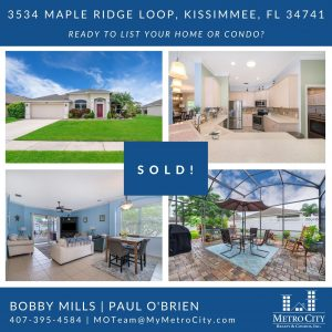 Just Sold 3 Bedroom Home in Kissimmee