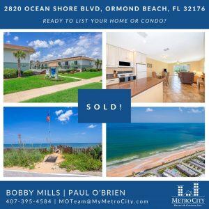 Just Sold 2 Bedroom Condo in Ormond Beach