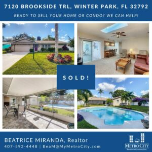 Just Sold 4 Bedroom Pool Home in Winter Park