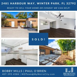 Just Sold 2 Bedroom Townhouse in Winter Park FL