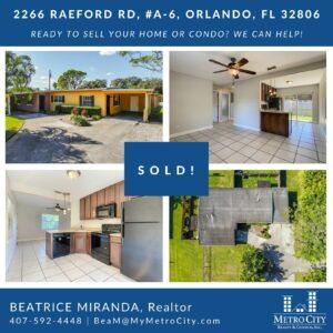 Just Sold 2 Bedroom Condo in Orlando FL