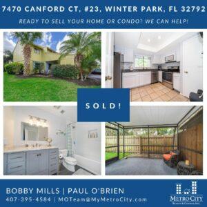 Just Sold 3 Bedroom Condo in Winter Park FL